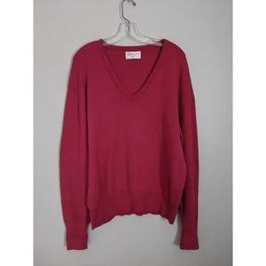 Christian Dior V-Neck Cotton Raspberry Sweater